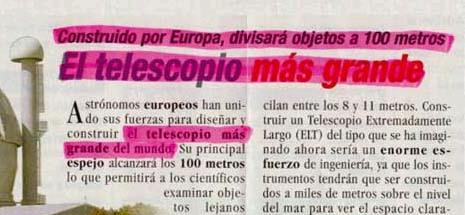 Ay, wey... la tecnologia esta cada vez mas avanzada... Telescopio para ver a 100 metros!!! Cool!!!