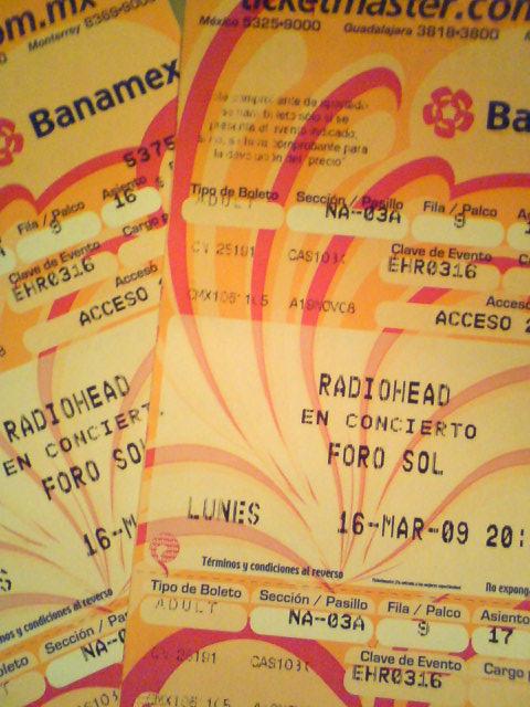 Radiohead en Mexico, Lunes 16 de Marzo, 2009.